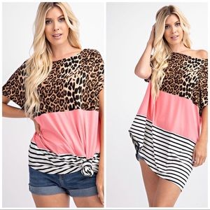 Coral Animal Print and Stripe Top